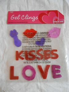 NEW Valentine's Day Heart KISSES LOVE Lips Window Gel Clings Decorations 14 pcs