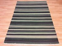 Modern Striped Navy Blue Handwoven Wool Kilim Dhurrie Rug 160x237cm 60%OFF