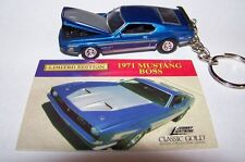 CUSTOM MADE..1971 MUSTANG BOSS (MET BLUE/ARGENT)  KEYCHAIN..GREAT GIFT!