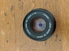 Canon FD 50mm F/1.8 Lens stock for Canon AE-1 AE-1 P AT-1 AV1 A-1 w/ rear cap