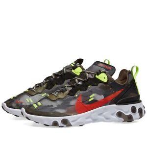 Nike React Element 87 Olive Crimson Black Volt UK 3.5 4.5 5 5.5 6 BNIB Sold Out