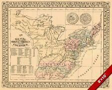 1776 MAP ORIGINAL 13 COLONIES OF UNITED STATES PAINTING ART REAL CANVAS PRINT