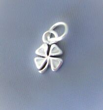 Sterling Silver Small Tiny Shamrock Four Leaf Clover Charm Good Lucky Mini USA