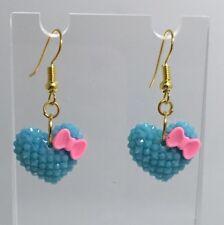 Pastel Blue Pink Bow Heart Earrings B150 4 Cm Long Kawaii Barbie Medium