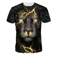 Mens Womens Casual Tee Shirts 3D Print Lion Graphic designer t-shirt Animal Tops