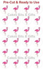 24x PINK FLAMINGO (White Back) Edible Wafer Cupcake Toppers PRE-CUT Ready to Use