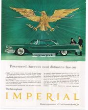 1958 CHRYSLER Imperial Green 2-door Coupe under US Great Seal Eagle Vtg Print Ad