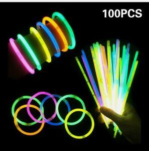 """100 Pcs Premium Glow Sticks Bracelet Necklaces 8"""" Multi-Colors Neon Party Lights"""
