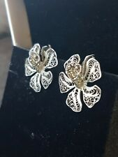 Flower Clip On Earrings Gorgeous Antique 925 Silver Filagree