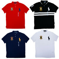 Men Polo Ralph Lauren BIG PONY Mesh Polo Shirt Fine Quality CUSTOM FIT - S-XXL