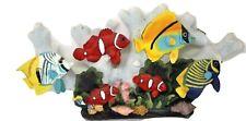 Nautical Fish Seashell Sculpture Coral Reef Hanging 3D Wall Decor Art 16 x 7.5