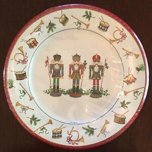 Caspari Nutcrackers Dessert Plates - Christmas - NEW