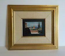 Italian PIETRA DURA Hard Stone Marquetry Plaque Framed, Castle Scene (#2)