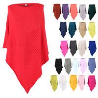 New Womens Italian Ribbed Star Soft Knit Ladies Poncho Cape Kaftan Jumper Top