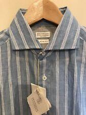 Brunello Cucinelli Dress Shirt S Slim Fit White Light Blue Pinstripe $530