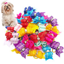 20/50/100/200pcs Rhinestone Dog Hair Bows Grooming Rubber Bands Puppy Accessory