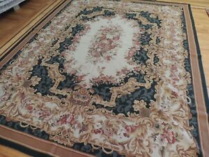 8x10 French Aubusson Needlepoint oriental area rug hand-knotted wool Green