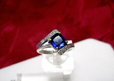 925 STERLING SILVER BLUE STONE WITH DIAMOND ACCENTS FASHION RING SIZE 8.25