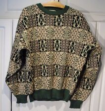 """Vintage - Men's Sweater """"The Men's Store at Sears"""" Green Black Cream Large L"""