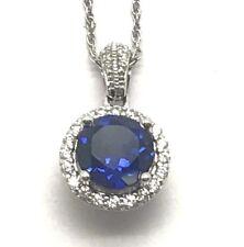 Silver 925 Round Faceted Blue Sapphire - CZ Pave Halo Petite Elegant Necklace