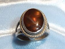 Vintage Sterling Ring, 14 X 19 Fire Agate Size 7, Marked 925