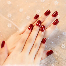 Deep Blood Red False Nails Short 24pcs Full Owl Nails Tips Oval Popular Acrylic
