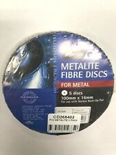 NORTON METALITE FIBRE DISCS FOR METAL P24  (PACKS OF 5) 100 mm x 16 mm