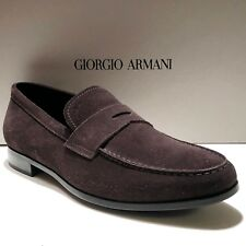 Giorgio Armani ITALY Men's Brown Suede Leather Penny Loafers Shoes 11 44 Casual