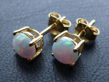 585 Gold / 925 Silber Ohrringe / Ohrstecker mit weissem Feuer Opal, rund