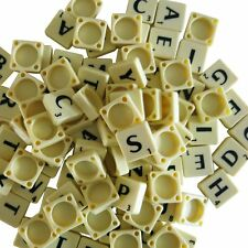 100 PLASTIC SCRABBLE TILES IVORY BLACK LETTERS NUMBERS FOR CRAFTS ALPHABETS PLAY
