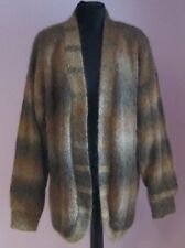 VTG Ladies Unbranded Gold Multi Lined Open Mohair Mix Cardigan Size M (b80)