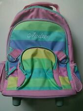 Pottery Barn Kids Pink Rainbow Stripes Fairfax Rolling Backpack name AUDREE New!