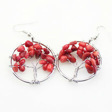 of Life Reiki Chakra Silver Hook Earrings New Fire Red Coral Chip Beads Tree