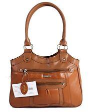 Large Women Ladies Two Strap Lorenz Real Patch Leather Shoulder Handbag Brown