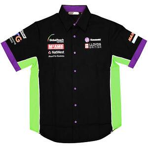 Kawasaki BSB Team Official Mens Button Up Pilot Shirt Black / Green / Purple