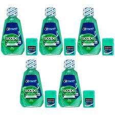 Pack of 5 Crest Scope Classic Mouthwash 1.2 fl oz w SmileCare Dental Floss Mint