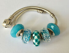 5 Authentic  Pandora 925 ale silver CHARMS BEADS glass teal f