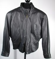 Wilsons Black Leather Womens Sz Large Zip out Thinsulate Liner Coat Jacket