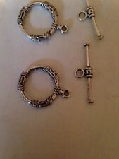 4 Sets 17mm SSS Toggle Clasps Bali Style Pewter L@@K #302