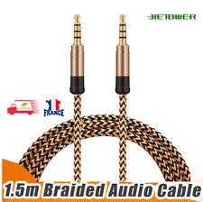 Câble Stéréo Jack 3.5mm 4 Pôles pour Casque + Micro, Auxiliaire Male/Male 1.5M