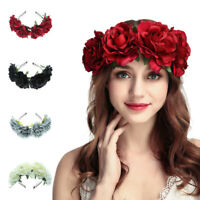 Fairy Women Rose Flower Wreath Crown Headband Beach Floral Garlands Hair Band