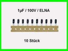 Elko - Kondens. ELNA gegurtet 1µF (1uF) / 100V / RM: 2,5mm / 10 Stück Neu