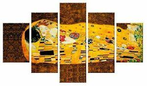 Quadro Moderno 5 pezzi in legno Vogue 48X85 cm IL BACIO DI KLIMT