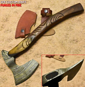 SFK Hand Forged Damascus Steel Walnut Wood Tomahawk Classy Art Hunting Axe Knife