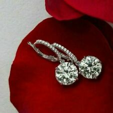 5.00Ct Round Cut Moissanite Drop & Dangle Earrings Solid 14K White Gold Over