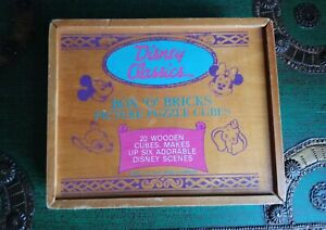 VINTAGE DISNEY CUBE CARTOON CHARACTER PICTURE PUZZLE TOY GAME WOOD BOX