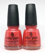 China Glaze Nail Polish Tequila Toes 70636 Glass Effect Orange w Silver Microgli