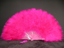 "MARABOU FEATHER FAN - HOT PINK Feathers 12"" x 20"" Burlesque/Wedding/Costume"