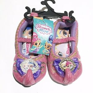 NWT TODDLER GIRL SHIMMER AND SHINE SLIPPERS SIZE S (5/6) Nickelodeon Pink Purple