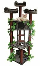 Real Looking Large Cat Tree Furniture Condo No Carpet with Green Leaves